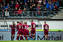 Players of Triglav celebrates after scoring first goal during Football match between NK Triglav and NK Maribor in 25th Round of Prva liga Telekom Slovenije 2018/19, on April 6, 2019, in Sports centre Kranj, Slovenia. Photo by Vid Ponikvar / Sportida