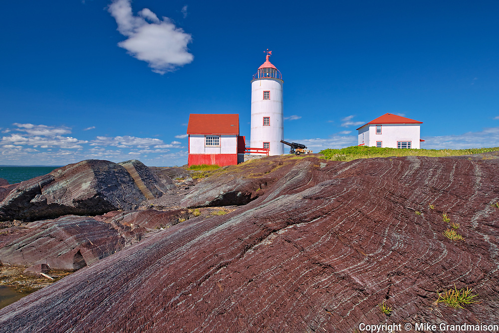 Île-Verte Lighthouse on the island of Île-Verte. Oldest lighthouse on the Saint Lawrence River and the third oldest in Canada<br />Île-Verte Lighthouse National Historic Site <br />Quebec<br />Canada