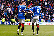 Goal! - Goal scorer James Tavernier (C) of Rangers FC celebrates with Jermain Defoe of Rangers FC during the Ladbrokes Scottish Premiership match between Rangers and Aberdeen at Ibrox, Glasgow, Scotland on 27 April 2019.