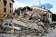 24 August 2016, Amatrice Italy - A machine destroyed by the collapse of a house.