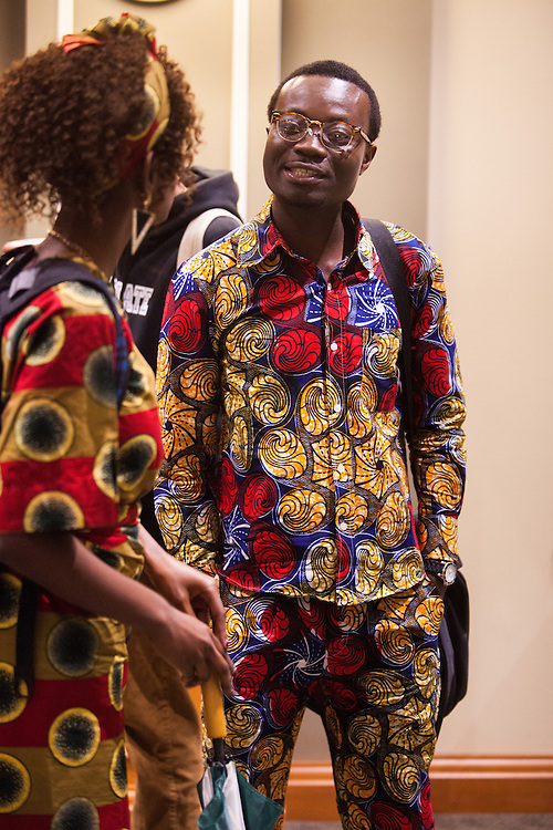 Juan Boungou of Republic of Congo wears a style of clothing associated with his country during the opening reception of International Week.  Boungou has been at Ohio University for only three weeks and is looking forward to meeting a broad range people during his time as a student.  Photo by Ohio University / Jonathan Adams