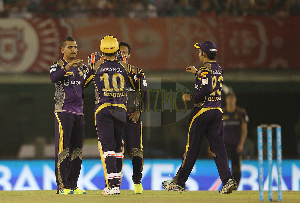 Sunil Narine of Kolkata Knight Riders celebrates the wicket of  Wriddhiman Saha of Kings XI Punjab during match 13 of the Vivo Indian Premier League ( IPL ) 2016 between the Kings XI Punjab and the Kolkata Knight Riders held at the IS Bindra Stadium, Mohali, India on the 19th April 2016<br /> <br /> Photo by Ron Gaunt / IPL/ SPORTZPICS