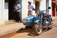 Motorcycle in San Antonio de los Banos, Artemisa, Cuba.