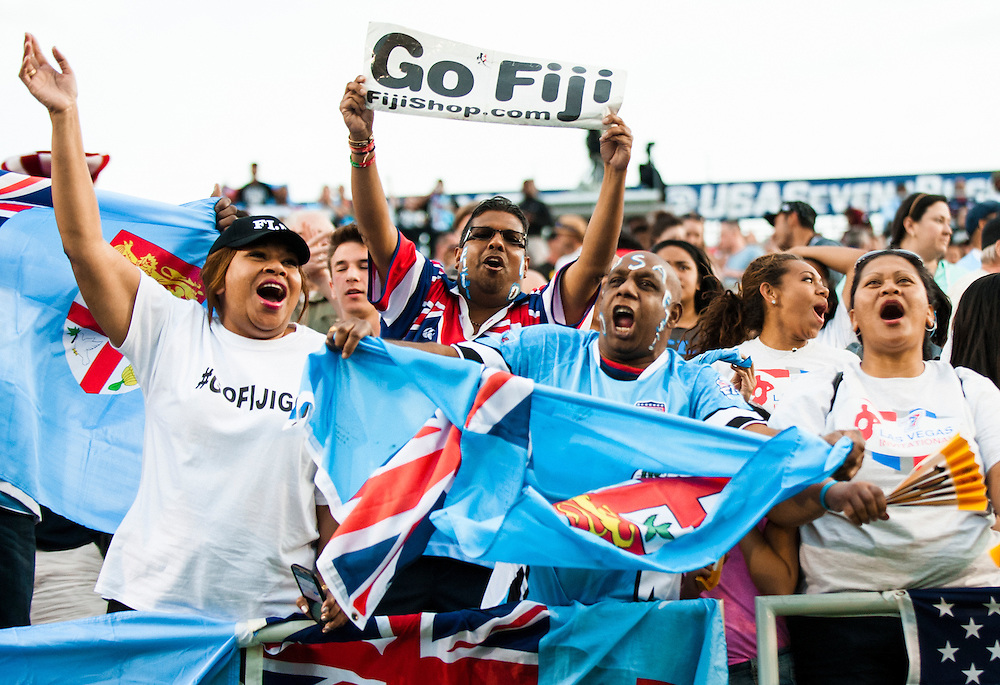 Fiji fans celebrate during the pool stage of the 2016 USA Sevens leg of the HSBC Sevens World Series at Sam Boyd Stadium  Las Vegas, Nevada. March 4, 2016.<br /> <br /> Jack Megaw for USA Sevens.<br /> <br /> www.jackmegaw.com<br /> <br /> 610.764.3094<br /> jack@jackmegaw.com