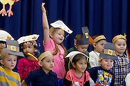 "Middletown, New York - Preschool and pre-K students line up before performing in the ""YMCA Thanksgiving Day Spectacular"" on the stage of the Center for Youth Programs on Nov. 27, 2013."