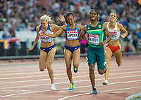 Athletics - 2017 IAAF London World Athletics Championships - Day Seven, Evening Session<br /> <br /> Womens 800m Semi Final<br /> <br /> Lynsey Clark (Great Britain) dips for the line  only to be disqualified a little later at the London Stadium<br /> <br /> COLORSPORT/DANIEL BEARHAM