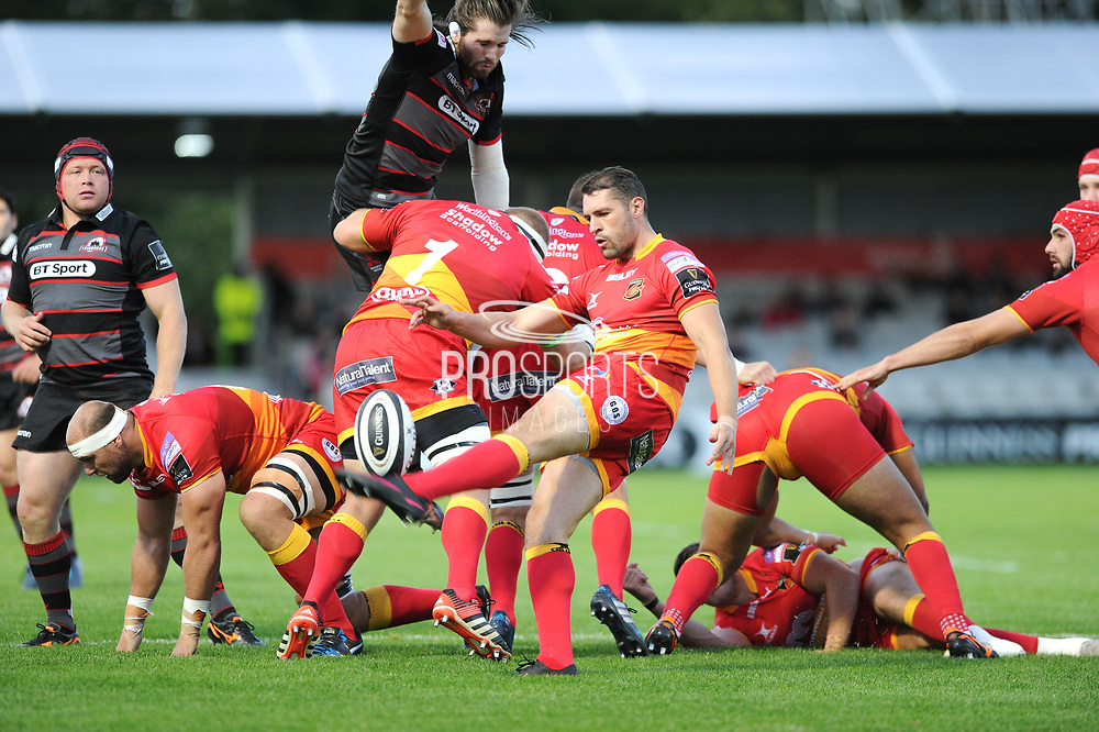 Charlie Davies kicks during the Guinness Pro 14 2017_18 match between Edinburgh Rugby and Dragons Rugby at Myreside Stadium, Edinburgh, Scotland on 8 September 2017. Photo by Kevin Murray.