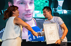 Mojca Novak and Primoz Roglic during reception of slovenian rider Primoz Roglic after Tour de France 2018 on August 6, 2018 in Ljubljana, Slovenia. Photo by Urban Meglic / Sportida