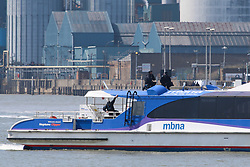© Licensed to London News Pictures. 10/05/2017. The Metropolitan Police's Marine Policing Unit pictured carrying out an exercise today on a passenger vessel in the Thames at Woolwich. The river police were seen boarding and climbing on to the Thames Clipper in the exercise by the Thames Barrier. Credit : Rob Powell/LNP