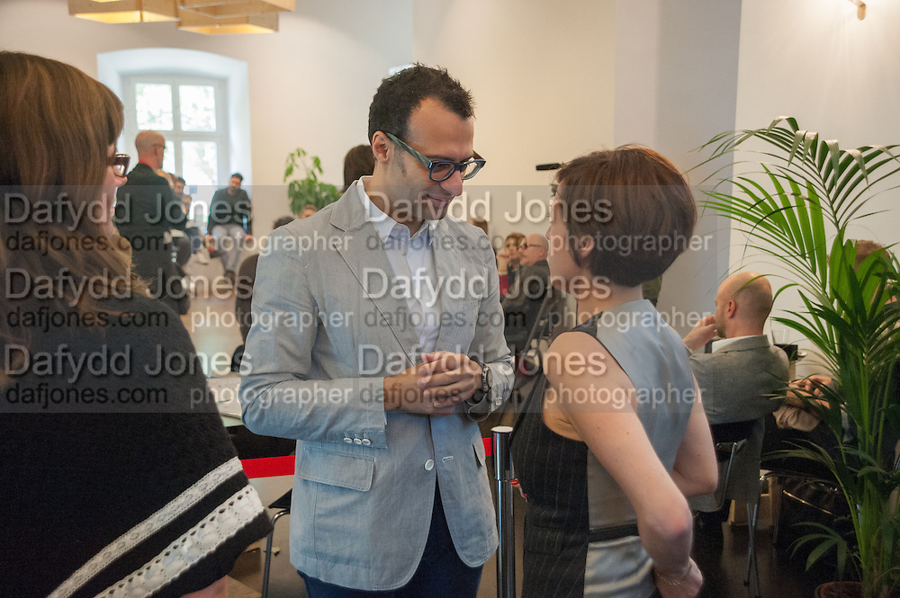 VADIM GRIGORIAN; CHUS MARTINEZ Breakfast and introduction to Documenta (13), at Ständehaus<br /> Venue: Standehaus, Absolut Maybe bar area, Documenta ( 13 ), Kassel, Germany. 14 September 2012.