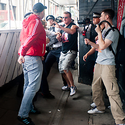 London, UK - 29 June 2013: Two men assault EDL leaders Tommy Robinson and Kevin Carroll trying to march through London borough of Tower Hamlets