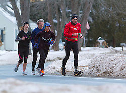 Gary Allen runs from Maine to Washington DC, (R-L) Gary Allen (Northeast Harbor), Joan Samuelson (Freeport), Bob Dunfey (Cape Elizabeth), Sarah Emerson (Westbrook) run together early in the morning on Church Street in Brunswick