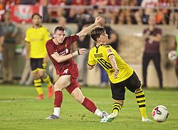 SOUTH BEND, INDIANA, USA - Friday, July 19, 2019: Liverpool's Andy Robertson shoots during a friendly match between Liverpool FC and Borussia Dortmund at the Notre Dame Stadium on day four of the club's pre-season tour of America. (Pic by David Rawcliffe/Propaganda)