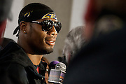 Baltimore Ravens wide receiver/kick returner Jacoby Jones addresses the media following the teams Super Bowl XLVII Celebration at M&T Bank Stadium on Tuesday, February 5, 2013 in Baltimore, MD.