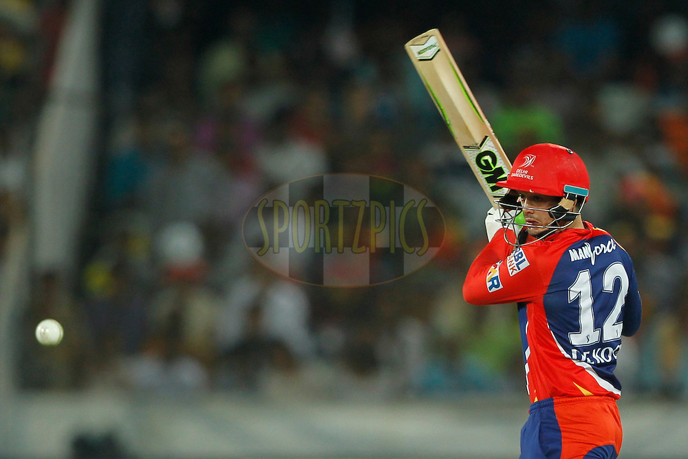 Quinton de Kock of Delhi Daredevils bats during match 42 of the Vivo IPL 2016 (Indian Premier League ) between the Sunrisers Hyderabad and the Delhi Daredevils held at the Rajiv Gandhi Intl. Cricket Stadium, Hyderabad on the 12th May 2016<br /> <br /> Photo by Deepak Malik / IPL/ SPORTZPICS