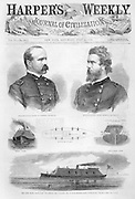 Civil War: CSS Virginia first news of the Ironclad Virginia #2 also known as the Merrimac (Monitor vs Merrimac) Cover  of July 26, 1862 Harper's Weekly  Hampton Roads (James River) Virginia Union Generals Butterfield and Seymour
