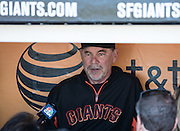 Bruce Bochy is giving pre game interview in the dugout prior to the MLB game between the San Francisco Giants and the Colorado Rockies, at AT&amp;T Park in San Francisco, CA.<br /> The Rockies won 8-6 in 9 innings.<br /> Credit : Glenn Gervot