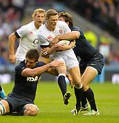 Twickenham, United Kingdom,  Chris ASHTON, tackled, during the  2013 QBE Autumn, Rugby International, England vs Argentina, RFU Stadium Twickenham, on Saturday  09/11/2013 <br /> England. [Mandatory Credit: Peter Spurrier/Intersport<br /> Images]