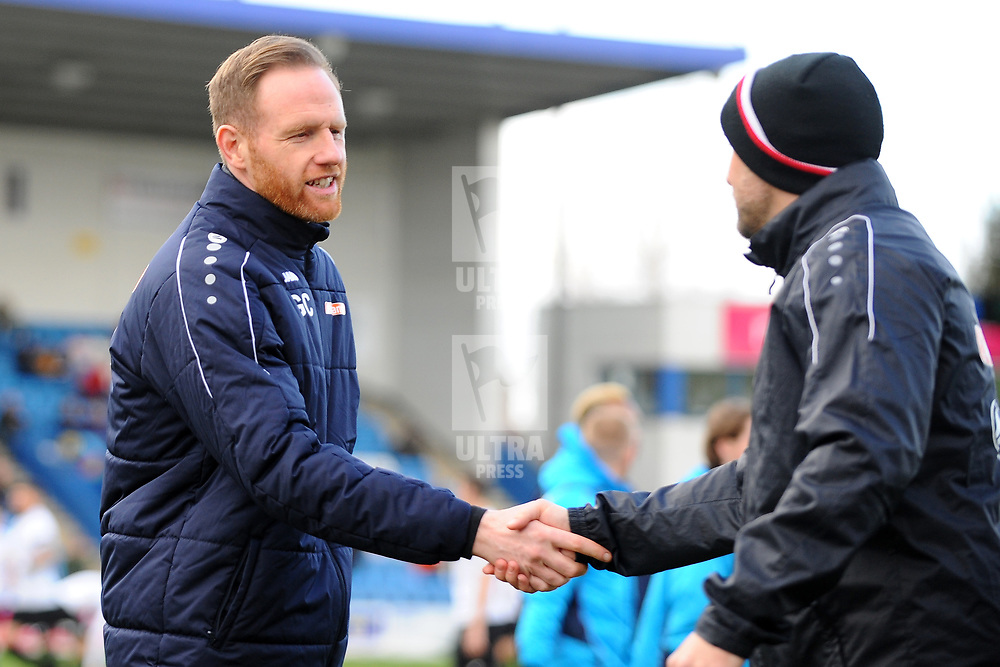 TELFORD COPYRIGHT MIKE SHERIDAN Gavin Cowan greets his opposite number Phil Parkinson during the Vanarama Conference North fixture between AFC Telford United and Altrincham at The New Bucks Head on Saturday, February 1, 2020.<br /> <br /> Picture credit: Mike Sheridan/Ultrapress<br /> <br /> MS201920-044