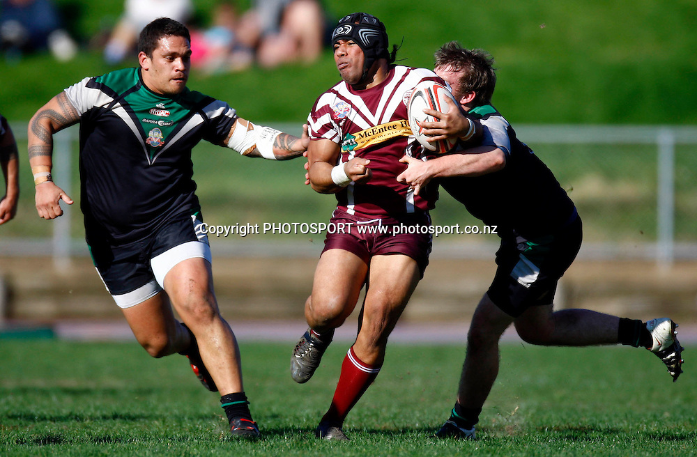 Leimoni Tuumaialu in action for Papakura, Auckland Rugby League, Fox Memorial Trophy semi-final, East Coast Bays v Papakura, Mt Smart no 2 field, Auckland. 22 August 2009. Photo: William Booth/PHOTOSPORT