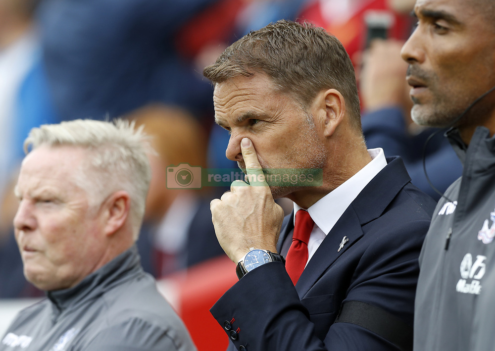 Crystal Palace manager Frank de Boer during the Premier League match at Anfield, Liverpool.