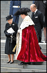 HM The Queen and Duke of Edinburgh after Lady Thatcher's family on the steps of St Paul's Cathedral. After Lady Thatcher's funeral, following her death last week, London, UK, Wednesday 17 April, 2013, Photo by: Andrew Parsons / i-Images