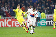 Nabil Fekir of Lyon and Denis Cheryshev of Villarreal during the UEFA Europa League, Round of 32, 1st leg football match between Olympique Lyonnais and Villarreal on February 15, 2018 at Groupama stadium at Decines-Charpieu near Lyon, France - Photo Romain Biard / Isports / ProSportsImages / DPPI