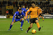 Birmingham City midfielder David Davis (26) holds up Wolverhampton Wanderers striker Helder Costa (17) 1-2 during the EFL Sky Bet Championship match between Wolverhampton Wanderers and Birmingham City at Molineux, Wolverhampton, England on 24 February 2017. Photo by Alan Franklin.
