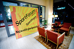 """Vhod v Austria Trend Hotel na okrogli mizi na temo """"Kolajna - kljuc do blagovne znamke?"""" v organizaciji SportForum Slovenija, 24. september 2009, Austria Trend Hotel, Ljubljana, Slovenija. (Photo by Vid Ponikvar / Sportida)"""