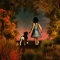 The path beckons Amy and her beagle Buddy forward. Where are they going to go? What is beyond the moving, gentle scene depicted here? We can't say for certain. We can only watch them looking towards whatever the late summer horizon offers. Behind them we can see stunning splashes of nature. This is piece that shows the soft beauty of friendship. These two simply know to follow the other. They are truly two of a kind, and they are the very best of friends. This piece is available as wall art, t-shirts, or through interior products.