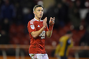 Man-of-the-match and goal scorer Nottingham Forest midfielder Ben Osborn (11) applauds the Forest fans after winning 1-0 during the EFL Sky Bet Championship match between Nottingham Forest and Bristol City at the City Ground, Nottingham, England on 21 January 2017. Photo by Jon Hobley.