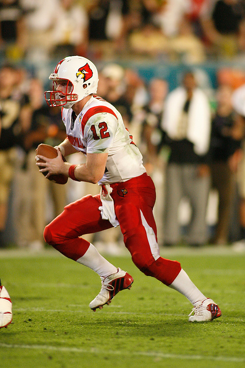 University of Louisville quarterback Brian Brohm scrambles during the Louisville Cardinals 24-13 victory over the Wake Forest Demon Deacons at the 2007 Orange Bowl Game on January 2, 2007 at the Dolphin Stadium in Miami, Florida.