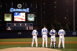 31 March 2006:  North Carolina 3B (7) Reid Fronk, LHP (33) Andrew Miller, catcher (26) Benji Johnson and (34) Chad Flack during the national anthem before  a 0-4 Florida Seminoles loss to the North Carolina Tar Heels at Boshamer Stadium in Chapel Hill, NC.