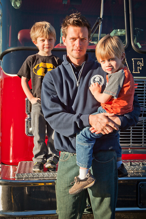 Anchorage Firefighter, Eric Lawson, with his sons, Nathan and Aiden, at union headquarters in south Anchorage.