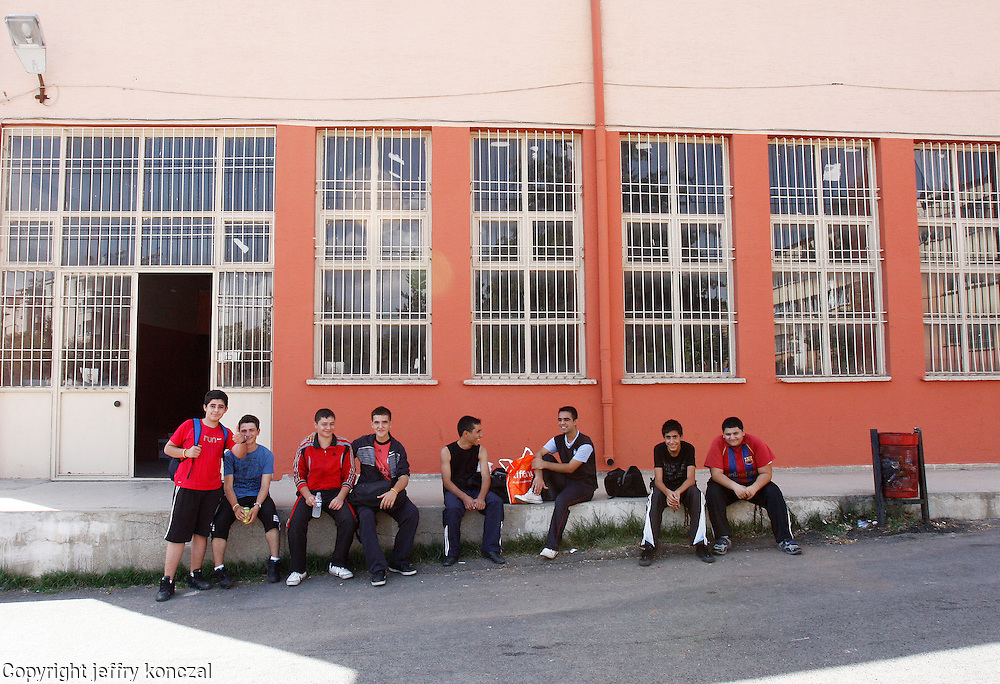 Students sit outside of their school in Gaziantep, Turkey.