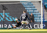 Football - 2018 / 2019 Emirates FA Cup - Sixth Round, Quarter Final : Millwall vs. Brighton<br /> <br /> Matthew Ryan (Brighton & Hove Albion) saves with his legs from Mahlon Romeo (Millwall FC) during the penalty shoot out at The Den.<br /> <br /> COLORSPORT/DANIEL BEARHAM