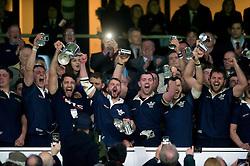 The Oxford University team celebrate victory after the match - Mandatory byline: Patrick Khachfe/JMP - 07966 386802 - 10/12/2015 - RUGBY UNION - Twickenham Stadium - London, England - Oxford University v Cambridge University - The Varsity Match.