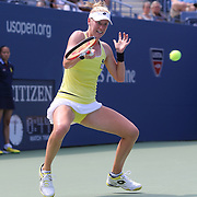 Alison Riske, USA, in action against Ana Ivanovic, Serbia, during the US Open Tennis Tournament, Flushing, New York, USA. 26th August 2014. Photo Tim Clayton