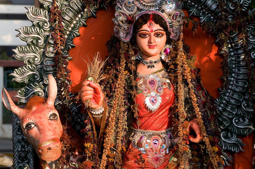 Hindu goddess at the side of a road, Kolcata,India