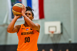 21-11-2018 NED: Netherlands - Bulgaria, Amsterdam<br /> Qualify FIBA Women's EuroBasket 2019 at Sporthallen Zuid Amsterdam / Group Phase Group F, Final Score 89-68 / Janis Ndiba Boonstra #0 of Netherlands