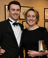 repro free: David McNicholas and Elaine Brick AECOM at the SCSI, Society of Chartered Surveyors of Ireland West branch Annual Dinner 2017 at the Ardilaun Hotel, Galway. Photo:Andrew Downes.