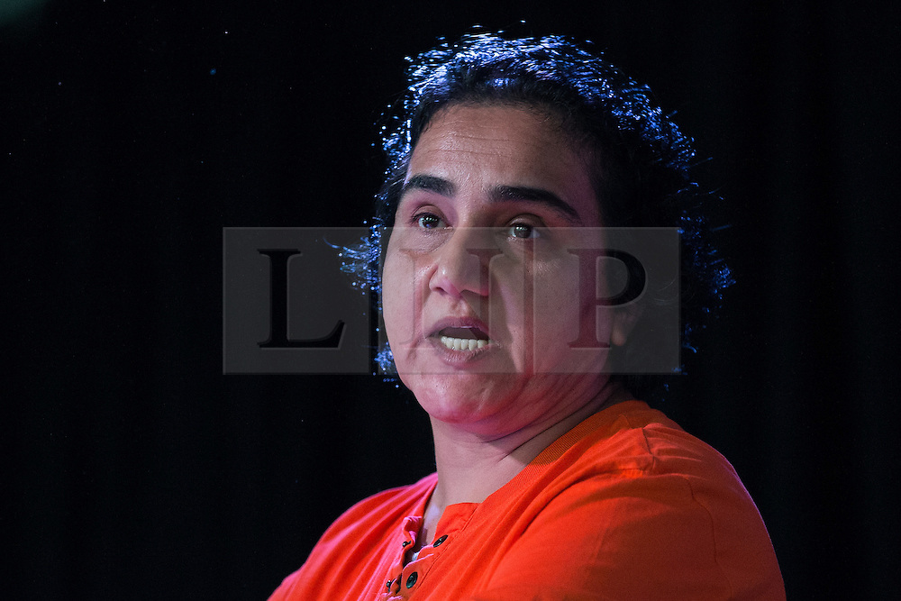 © Licensed to London News Pictures  . 05/09/2015 . Manchester , UK . Afghan refugee MARZIA BABAKARKHAIL speaks in support of Andy Burnham at a rally for Burnham's campaign to be the next leader of the Labour Party , at Kings House Conference Centre in Manchester . Photo credit: Joel Goodman/LNP