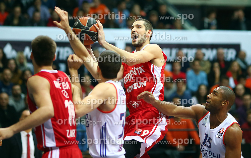 03.12.2015, KC Drazen Petrovic, Zagreb, CRO, FIBA, EL, KK Cedevita vs Anadolu Efes Istanbul, Gruppe B, 8. Runde, im Bild Luka Babic // during the group B, 8th round match of the Turkish Airlines Basketball Euroleague between KK Cedevita and Anadolu Efes Istanbul at the KC Drazen Petrovic in Zagreb, Croatia on 2015/12/03. EXPA Pictures &copy; 2015, PhotoCredit: EXPA/ Pixsell/ Slavko Midzor<br /> <br /> *****ATTENTION - for AUT, SLO, SUI, SWE, ITA, FRA only*****