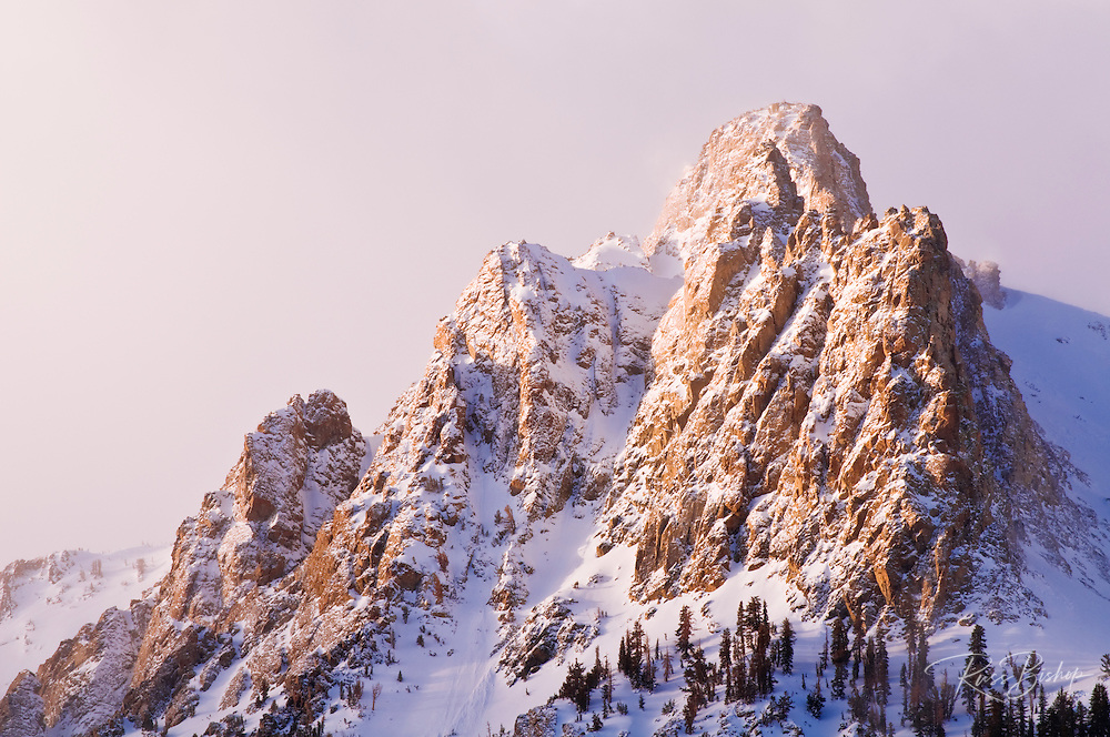 Winter dawn on Carson Peak, Inyo National Forest, June Lake, California USA