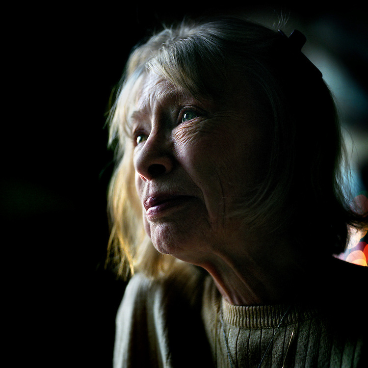 Writer Joan Didion in her home in New York City. Photographer: Chris Maluszynski /MOMENT