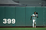 San Francisco Giants center fielder Gorkys Hernandez (66) catches a fly ball against the Arizona Diamondbacks at AT&T Park in San Francisco, California, on August 6, 2017. (Stan Olszewski/Special to S.F. Examiner)