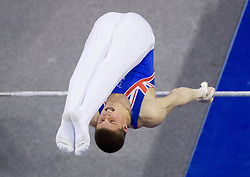 Frank Baines of Great Britain competes in the Horizontal bar during Final day 2 of Artistic Gymnastics World Cup Ljubljana, on April 27, 2013, in Hala Tivoli, Ljubljana, Slovenia. (Photo By Vid Ponikvar / Sportida.com)