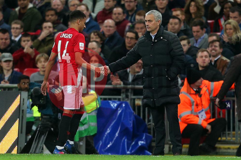 Manchester United manager Jose Mourinho shakes hands with Jesse Lingard  - Mandatory by-line: Matt McNulty/JMP - 26/02/2017 - FOOTBALL - Wembley Stadium - London, England - Manchester United v Southampton - EFL Cup Final