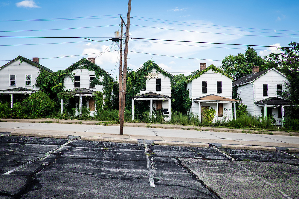 A row of homes are slated for demolition in Monessen, Pa, when the town has the money available to have the work done.<br /> <br /> Monessen, a third-class city, faces the same problems as th other former steel towns &mdash; declining population and tax revenue after the mills shut down. The city's population has dropped to 7,600 from a high of 20,268 in 1930.