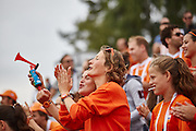 28.7.2015, EMG Berlin. Fieldhockey Argentina vs. Holland, first hockey game. Dutch fans cheer for the team